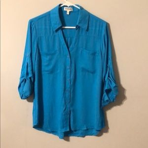 Blue portofino button up blouse